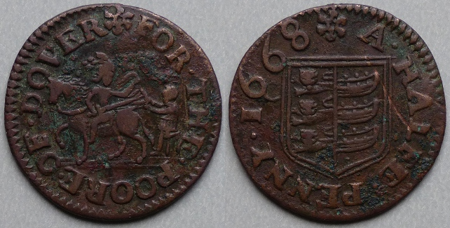 Dover, town issue 1668 halfpenny