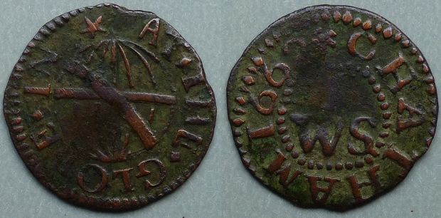 Chatham, W I (S) AT THE GLOBE 1662 farthing