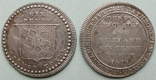 Leicester, county issue 1811 sixpence