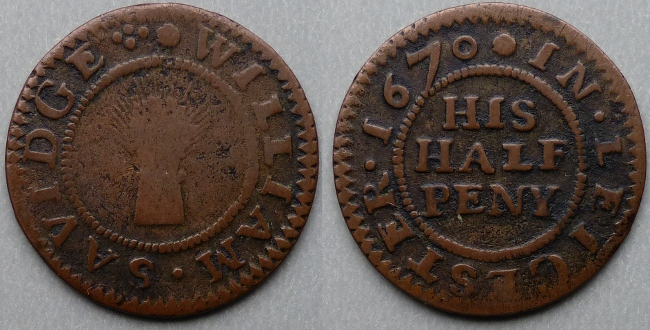 Leicester, William Savidge 1670 halfpenny