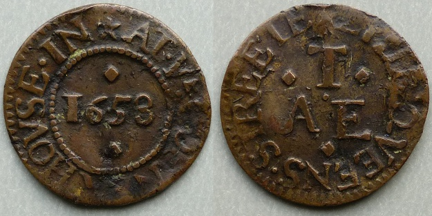 Little Queen Street, A E T AT YE CORNER HOVSE 1658 farthing