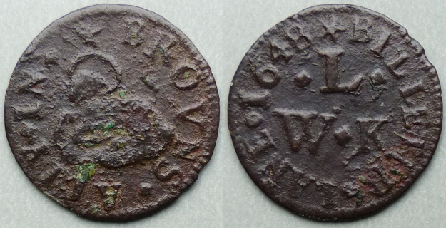 Browns Alley in Billiter Lane, W L (K) 1658 farthing