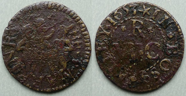 Boss Alley, WR(C) AT THE 3 MARRINRS 1653 farthing token