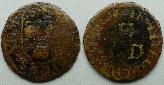 Little Cheapside, IH(D) AT THE DIERS ARMES farthing
