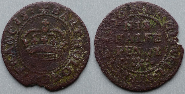 Chiswell Street (Finsbury), Bartholomew Francis 1666 halfpenny