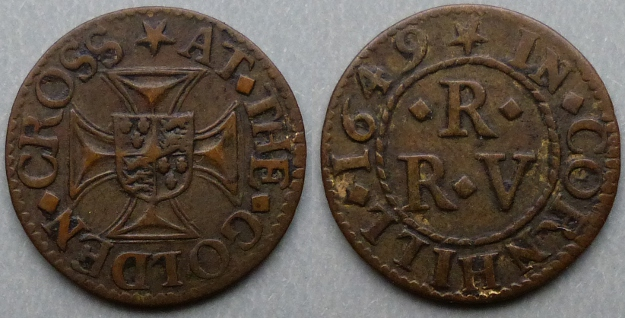 Cornhill, R R (V) AT THE GOLDEN CROSS 1649 farthing
