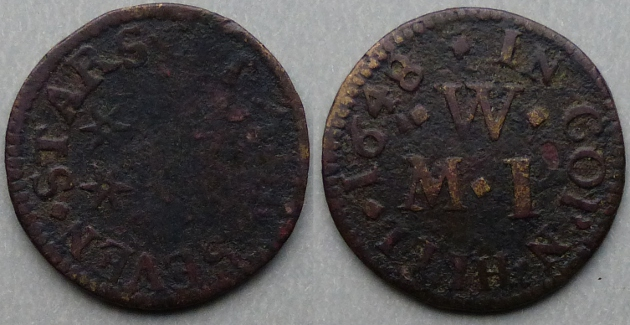Cornhill, M W (I) AT THE SEVEN STARS 1648 farthing
