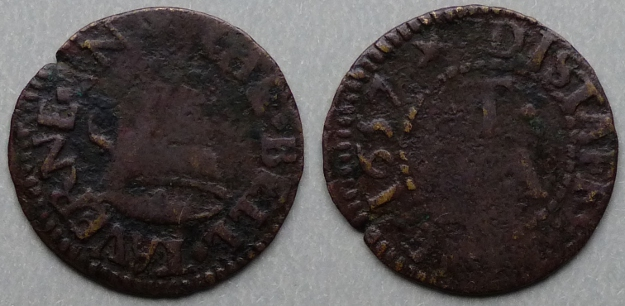 Distaff Lane, R T (A) THE BELL TAVERNE 1657 farthing