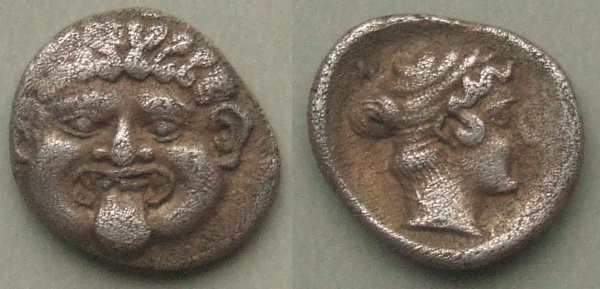 Macedonia Gorgons head hemidrachm, 411-348 BC