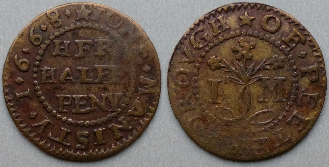 Peterborough, Jone Manisty 1668 halfpenny