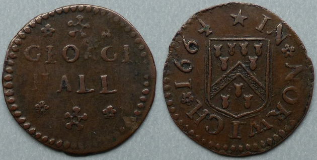 Norwich, George Hall 1664 farthing