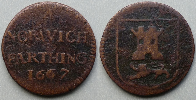 Norwich, 1667 city issue farthing, N3113