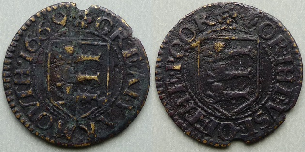 Great Yarmouth, borough issue 1669 farthing N3292