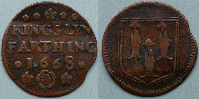 Kings Lynn, town issue 1668 farthing, N3066