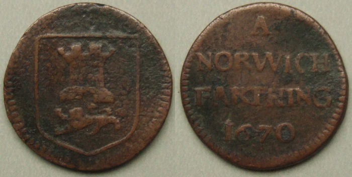 Norwich, city issue 1670 farthing, N3126