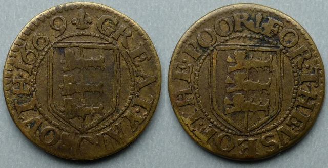 Great Yarmouth, borough issue 1669 farthing N----