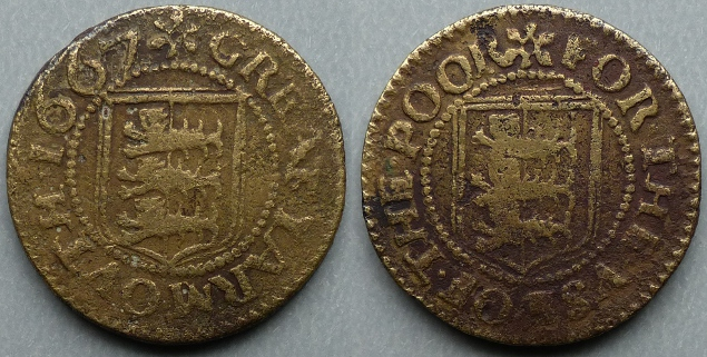 Great Yarmouth, borough issue 1667 farthing N3281