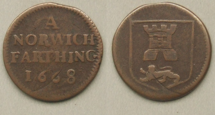 Norwich, city issue farthing 1668, N3116