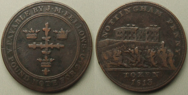 Nottingham, J M Fellows & Co 1813 penny