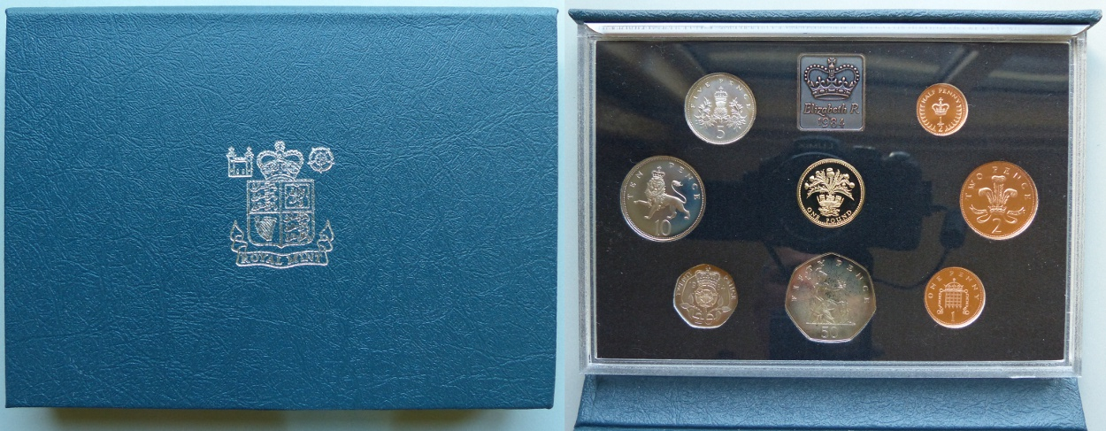 1984 Proof Coin Collection, blue case