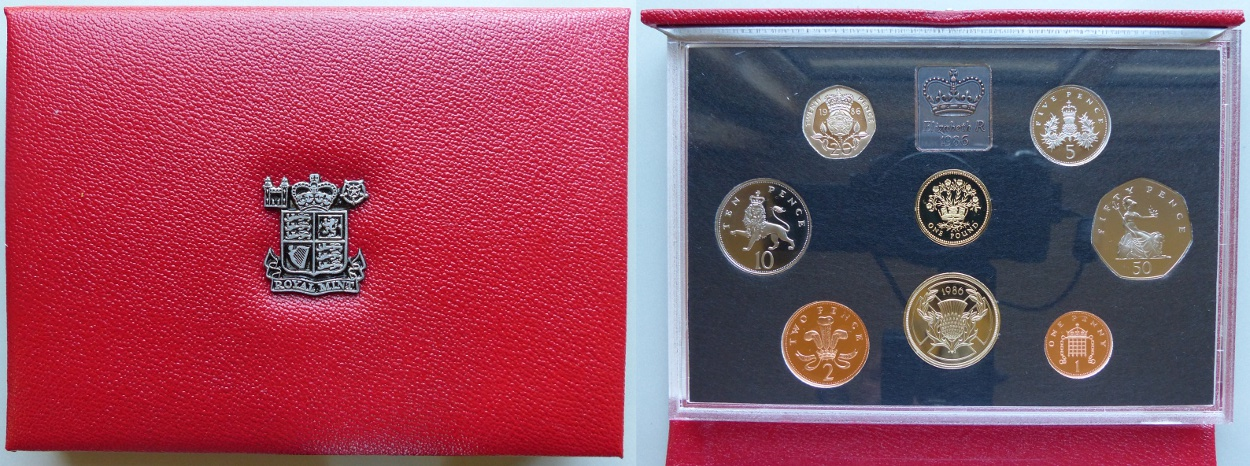 1986 Proof Coin Collection, deluxe red leather case