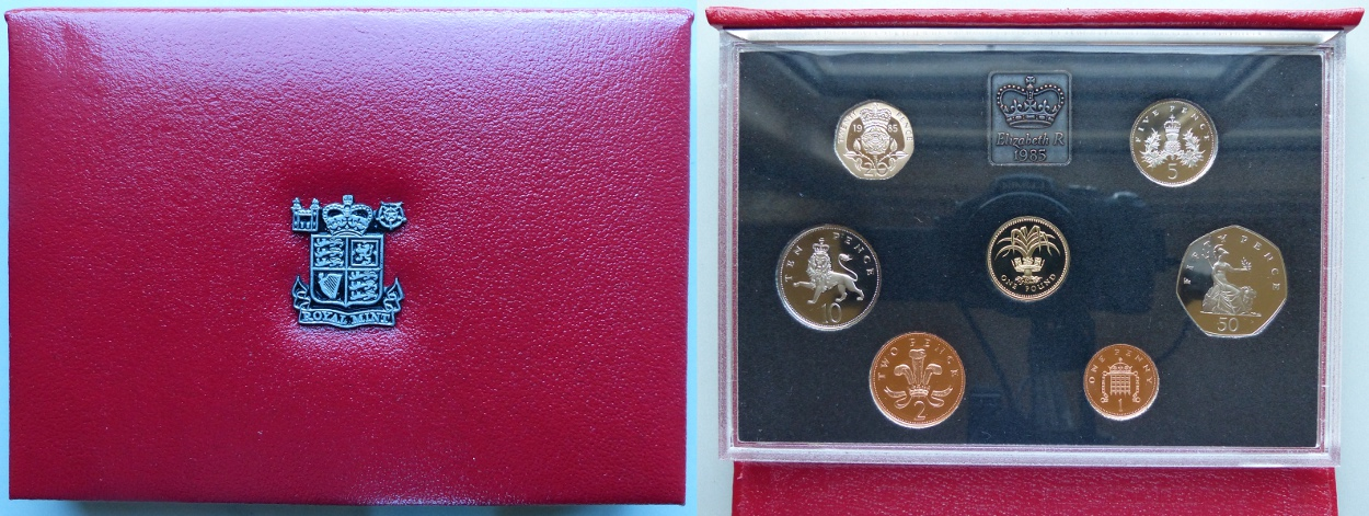 1985 Proof Coin Collection, deluxe red leather case
