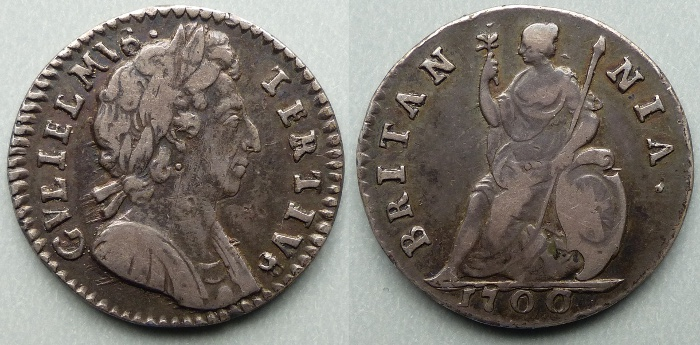William III, pattern silver farthing P672