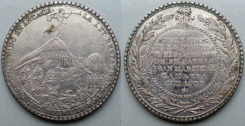 Peru, Cuzco, 4 reales-sized silver medal 1839