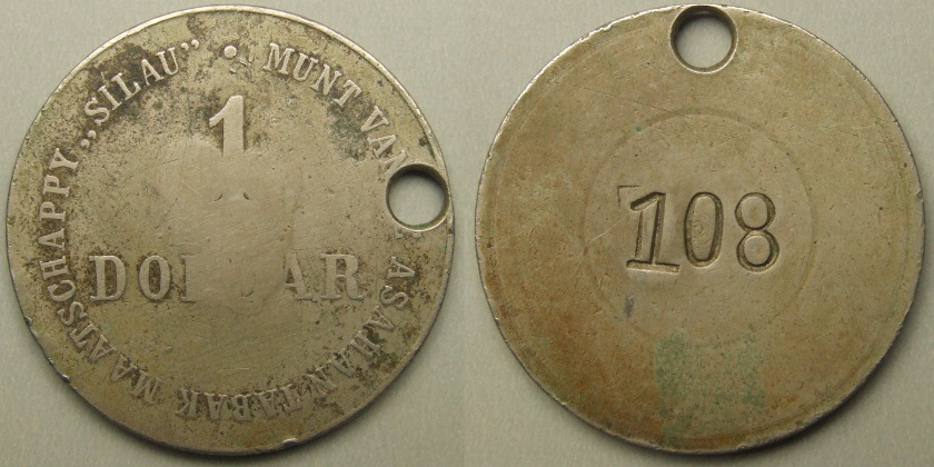Netherlands East Indies, plantation token, 1 dollar