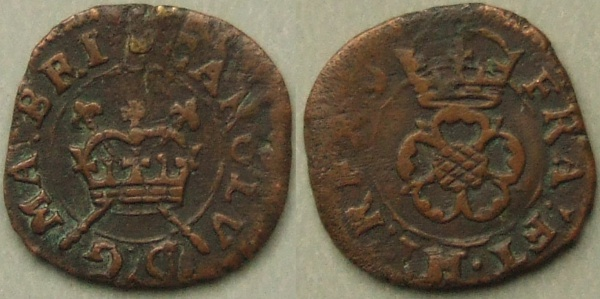 Charles I Rose farthing, extremely rare variety