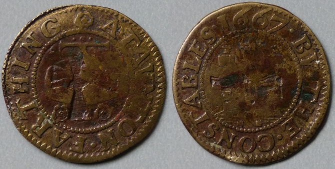 Taunton, town issue 1667 farthing, countermarked