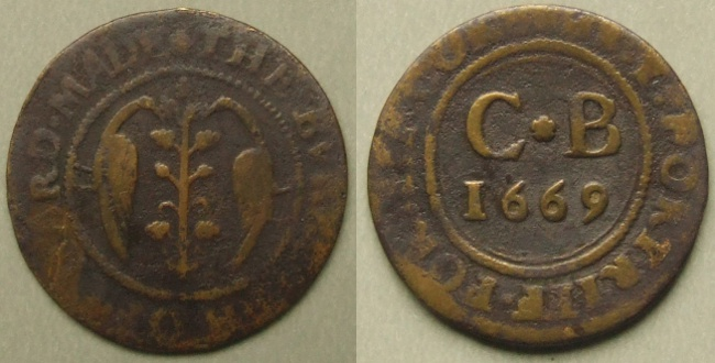 Chard, town issue 1669 farthing