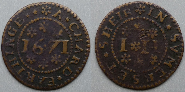 Chard, town issue I H 1671 farthing