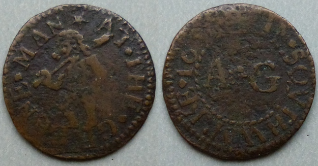 Borough High Street, A G AT THE GREENE MAN 1651 farthing