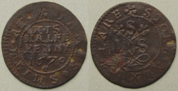 Stoke-by-Clare, James Smith 1670 halfpenny