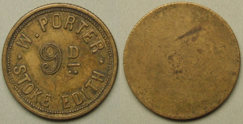 Herefordshire, hop pickers / pickers token, Stoke Edith