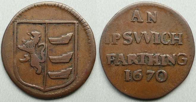 Ipswich, town issue 1670 farthing N4351
