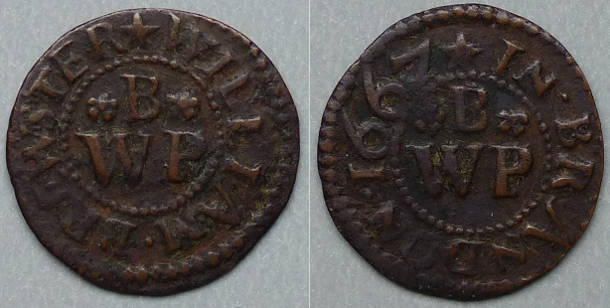 Brandon, William Brewster 1667 farthing