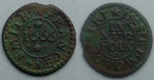 Bury St. Edmunds, Frances Smith 1666 farthing