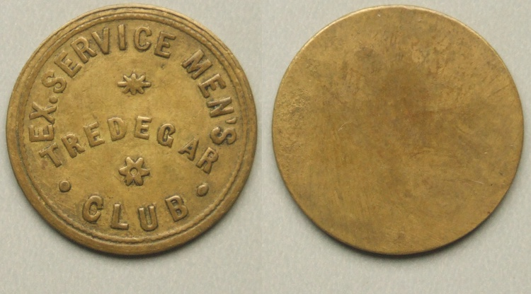 Tredegar Ex. Service Men's Club token.