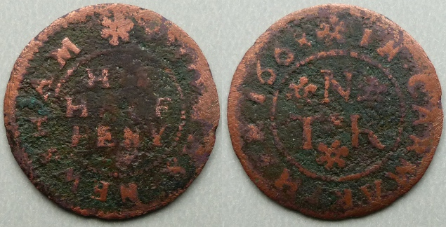 Carmarthen, Thomas Newsham 1668 halfpenny