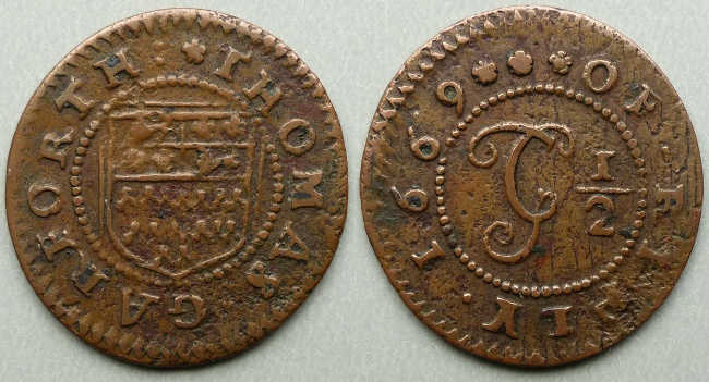 Ripley, Thomas Garforth 1669 halfpenny