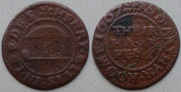 Leeds, Henry Ellis and Arthur Roome 1667 halfpenny