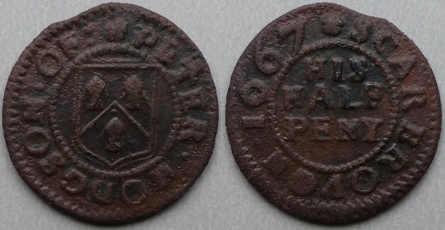 Scarborough, Peter Hodgson 1667 halfpenny