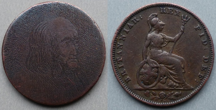Skillfully engraved Victorian copper farthing