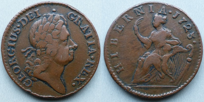 William Wood's 1723 Hibernia halfpenny