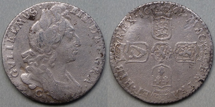 William III, 1697 Chester sixpence