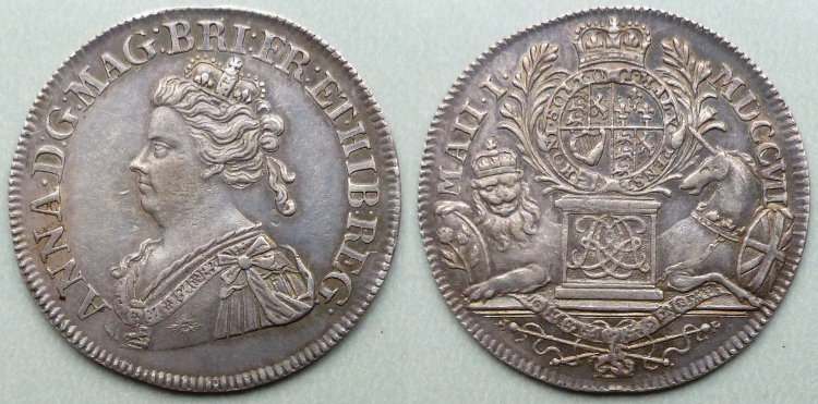 Union of England and Scotland, 1707, Silver Medal by John Croker
