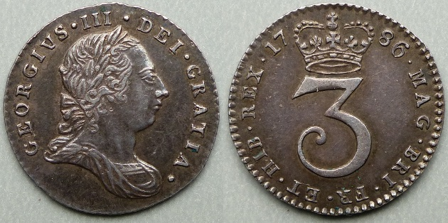 George III, 1786 threepence