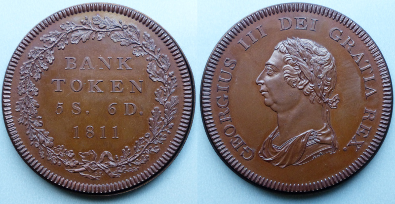 George III, pattern copper 5S 6D bank token